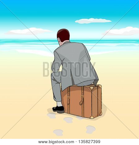 Beach. A man in a business suit sitting on a suitcase at the beach. Vector illustration.