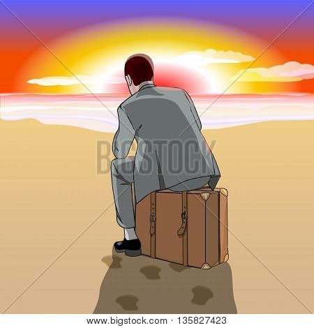 Beach. Sunrise or sunset. A man in a business suit sitting on a suitcase at the beach. Vector illustration.