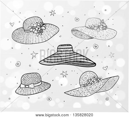 Set of five summer hats on white glowing background