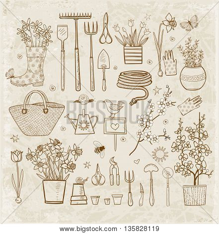 Big set of hand-drawn sketch garden elements - gardening tools. straw hat, flowers in pots on vintage background.