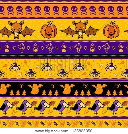 Halloween background with bat pumpkin ghost. Vector illustration.