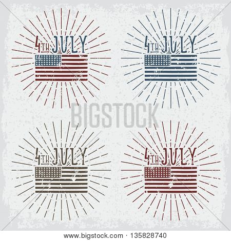 4Th July American Independence Day Grunge Vector Illustration Set