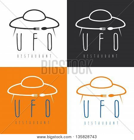 ufo spaceship with fork and spoon concept restaurant vector design template