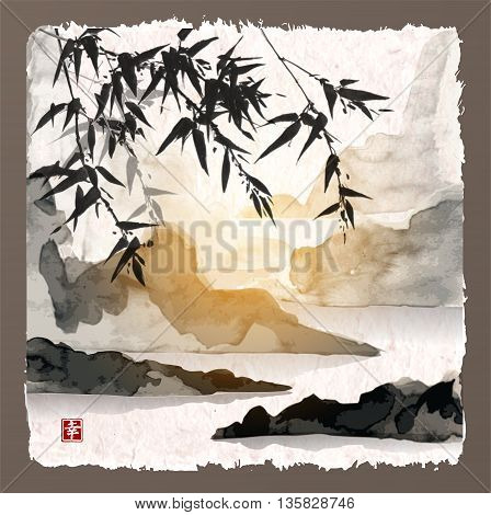Bamboo trees, sun and mountains. Traditional Japanese ink painting sumi-e on vintage background. Contains hieroglyph - happiness.