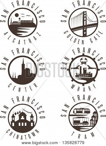 Label Set With Landmarks Of San Francisco California,usa . Wharf , Alcatraz,business Center ,golden