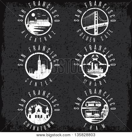 Grunge Label Set With Landmarks Of San Francisco California,usa . Wharf , Alcatraz,business Center ,