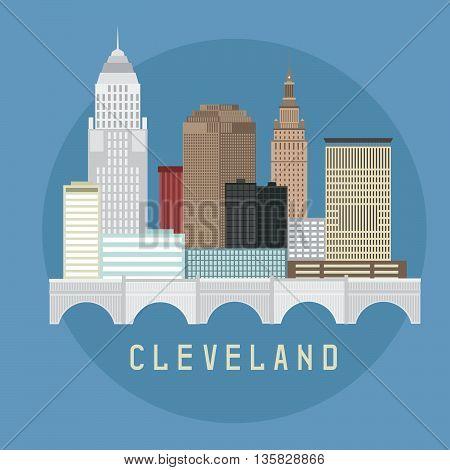 Cleveland Ohio Usa Flat Design Vector Illustration Of Skyline