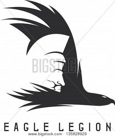 Negative Space Vector Concept Of Spartan Warrior Head In Eagle