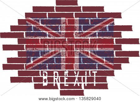 Brexit Concept Vector Illustration With United Kingdom Flag On The Brick Wall