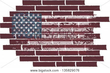 concept vector illustration with USA flag on the brick wall.