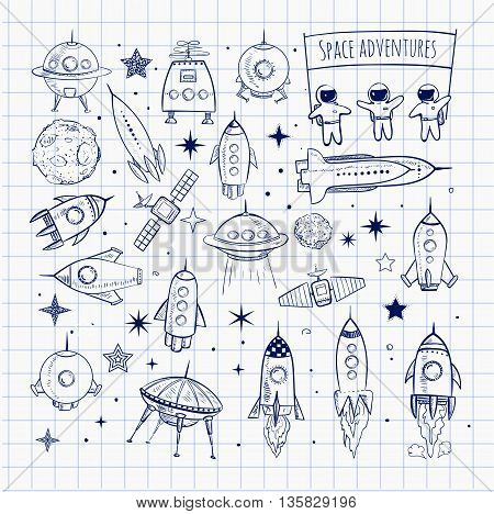 Collection of sketchy space objects. Space ships, space shuttle, flying saucers, astronauts etc.