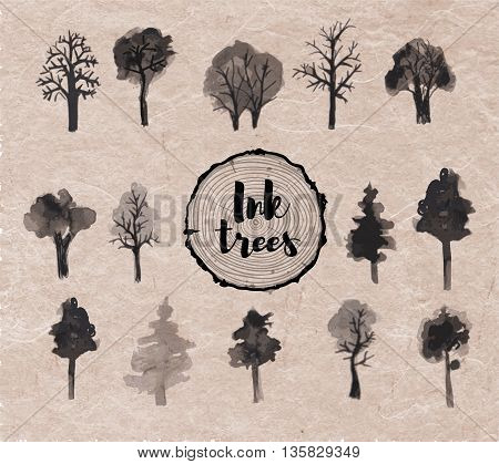 Set of trees hand drawn with ink in Japanese sumi-e style on vintage background. Vector illustration.