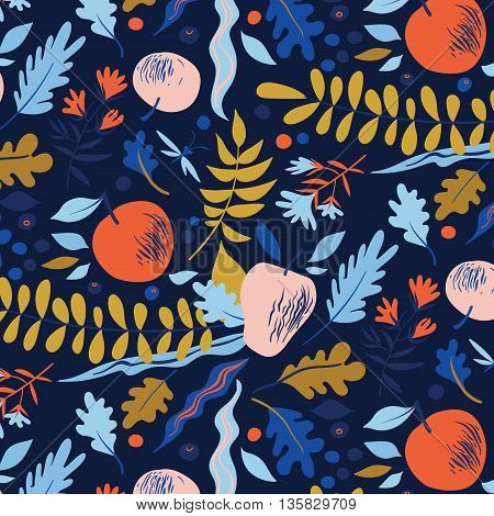 Autumn pattern with leaves, berries, flowers and apples. Good for package for juice, cosmetics or menu design
