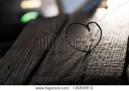 Valentine heart idea and vintage old wooden table