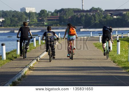 Young People, A Man And A Girl, Cycling In The City