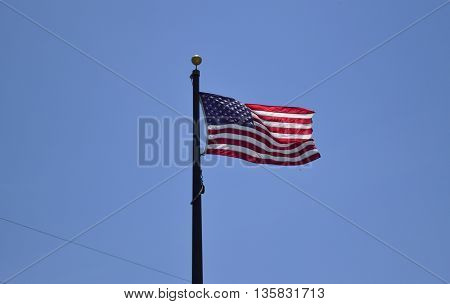 American Flag waving at Fort De Soto in Florida.