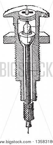 Gear shift, vintage engraved illustration. Industrial encyclopedia E.-O. Lami - 1875.