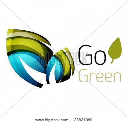 Abstract eco leaves logo design made of color pieces - various geometric shapes. Geometric nature concept. colorful icon
