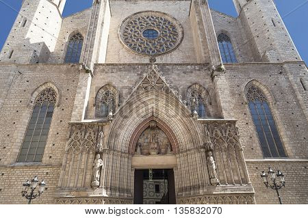 Facade of Catalan Gothic church Santa Maria del Mar Barcelona Spain.