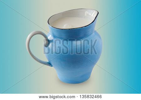 jug of milk. blue jug with milk