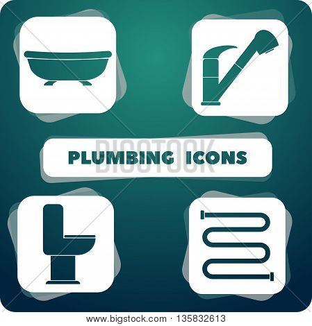 Icons with plumbing. isolated objects in the flat design.