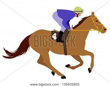 jockey riding race horse illustration 3