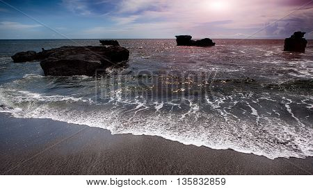 landscape the Indian ocean at sunset. Bali Indonesia