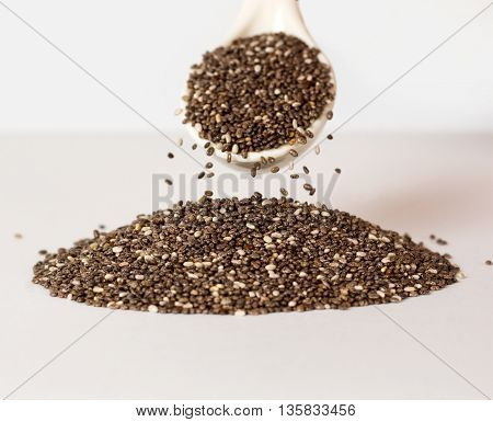 chia seeds on a white background. Super food.