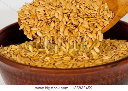 Golden flax seed. Super food. A bunch of flax seeds.