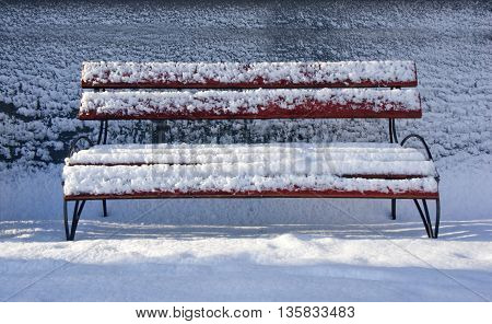 bench with snow in the winter. Winter landscape