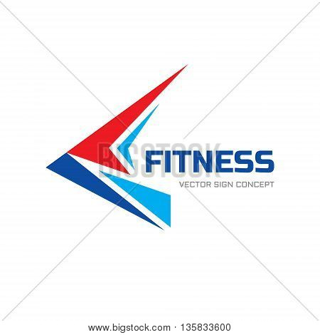 Fitness sport - vector logo concept illustration. Abstraction shape sign. Abstract geometric bird wing. Delivery concept sign. Design vector element.