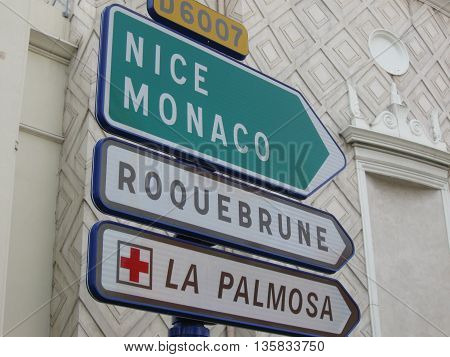 French direction signs show the way to your destination
