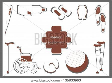 orthopedic equipment. Products in the form of red and white silhouettes