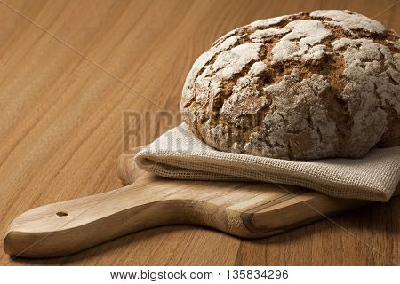 Close up Rye Bread on wooden cutting board