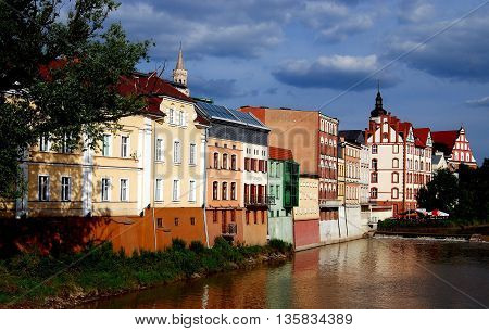 Opole Poland - June 16 2010: Colourful 17-19th century houses line the banks of the River Oder