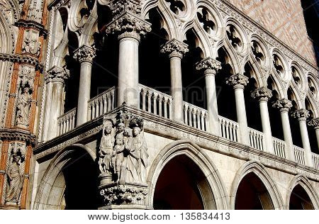 Venice Italy - June 11 2006: Open loggia at the Doges Palace built between the 12th to 16th centuries in the pure Venetian gothic style in Piazza San Marco