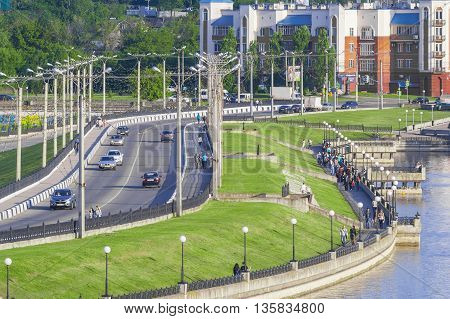 Highway road to the temple in the city of Cheboksary Chuvash Republic Russia. 05/24/2016