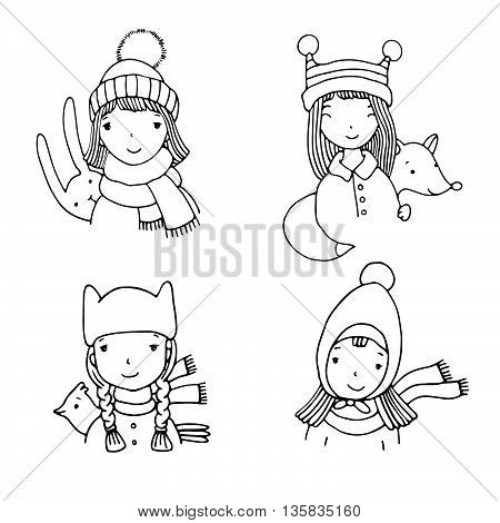 Beautiful girls in hats. Hand drawn vector illustration on a white background.