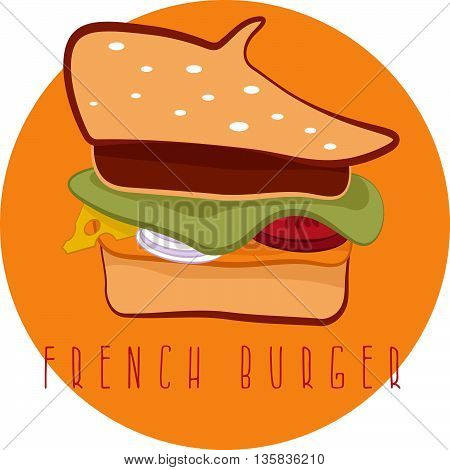 French Burger Concept With Beret Hat Vector Design Template