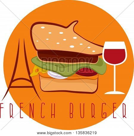 French Burger Concept With Beret Hat ,eiffel Tower And Wine Vector Design Template