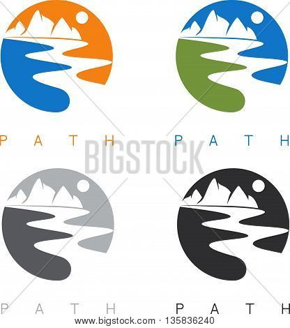 Abstract Mountains And River Labels Set Vector Illustration