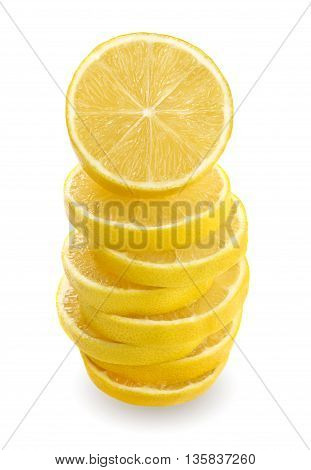 Close up Lemon sliced and stacked on white