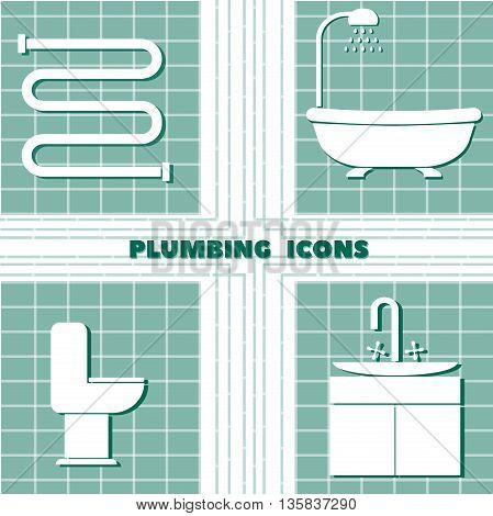 icon set with plumbing on a plaid background. isolated objects in the flat design.