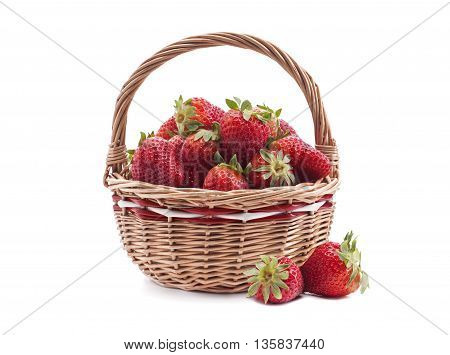 Close up of a basket with fresh strawberry