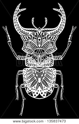 Vector Zentangle Bug monochrome illustartion tribal totem insect for adult Coloring books or tattoos with high details isolated on black background. Vector white sketch.