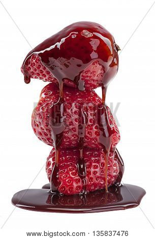 A stack of juicy strawberry with Syrup