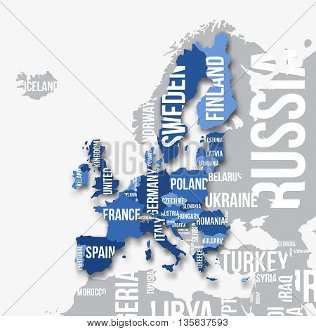 Vector map of European Union with borders and country names