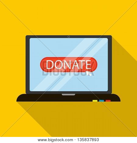 Online donation icon in flat style with long shadow. Financial assistance to people symbol