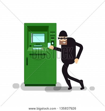 Stock Vector isolated illustration thief steals money from ATM, green cash machines