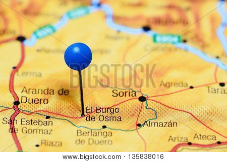 El Burgo de Osma pinned on a map of Spain